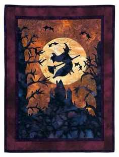 Halloween silhouette art quilt with flying witch
