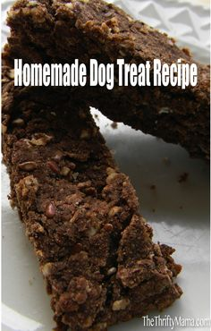 Banana Carob Biscotti Dog Treat.  3 cups brown rice flour,  1/2 cup carob powder,  1-1/2 cup oats,  1/4 cup flax seeds,  1/2 teaspoon baking soda,  1 egg,  1/4 cup coconut oil,  1-1/2 cups banana,  2 teaspoons vanilla,  1/2 cup water.