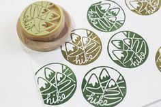 hiking hand carved rubber stamp. hand lettered by talktothesun, $18.00