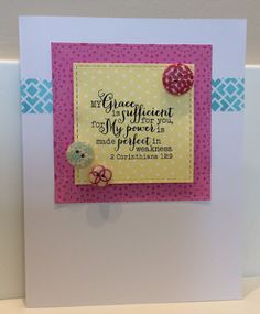Hand stamped card by Carrie using the 2 Corinthians 12:9 plain jane from Verve. #vervestamps #faithstamping