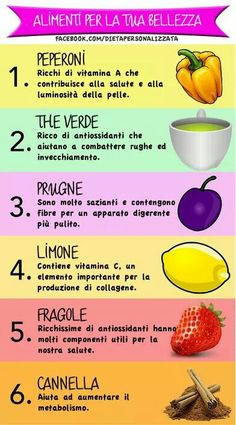 Alimenti x la bellezza Wellness Fitness, Health And Wellness, Health Fitness, In Natura, Nutrition And Dietetics, Fresh Fruits And Vegetables, Beauty Recipe, Health Advice, Fett