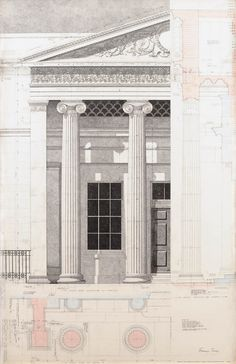 Working drawing of Portico, 2003. Drawn by Francis Terry, rendered by Jo Knights. Pen and ink