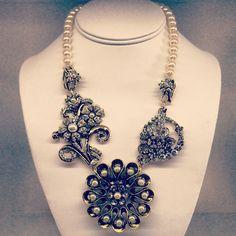 Triple Stone Flower Necklace