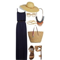 Summer Outfit by kveldman on Polyvore featuring MANGO, Steve Madden, Juicy Couture, Burberry, J.Crew, Melissa Odabash, CÉLINE, maxi dresses, wide brim hats and straw bags