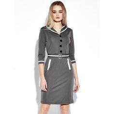 Elegant Bodycon Lapel Belt Button Design  Pencil Dress ($21) ❤ liked on Polyvore featuring dresses, bodycon dress, elbow sleeve dress, evening dresses, bodycon cocktail dress and grey bodycon dress