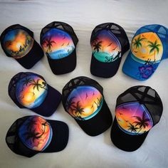 {#FashionFind} One of Playa's best kept secrets when it comes to local fashion is hand-painted hats from local artist Estrella del Mar. Estrella takes any custom order for her bold, colorful baseball caps creations. Look her up to get your own unique airbrushed ball cap!  #playadelstyle Hand Painted Toms, Painted Hats, Airbrush T Shirts, Airbrush Art, Air Brush Painting, Fabric Painting, Baseball Caps, Baseball Shoes, Graffiti Alphabet