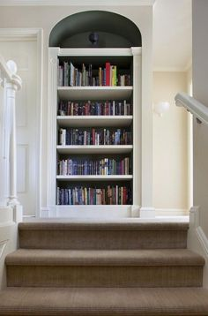 Traditional Built In Bookcase Design, Pictures, Remodel, Decor and Ideas Home, Bookshelf Decor, Remodel, Hall Design, Carpet Design, Built In Bookcase, Bookcase Design, Stairs Design, Bookcase Decor