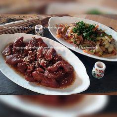 Porc au caramel et son wok de légumes croquants (poireaux, choux, oignons, carottes, poivrons) au soja et citronnelle au companion ou autres robots