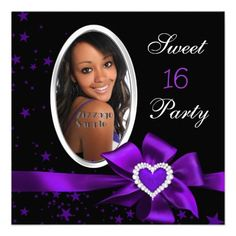 Purple Sweet 16 Birthday Party Heart Photo Silver