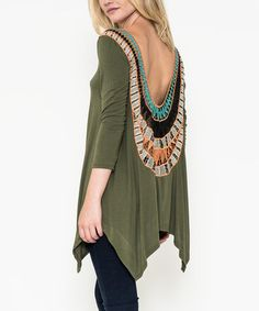 Another great find on #zulily! Olive Crochet-Back Handkerchief Top #zulilyfinds