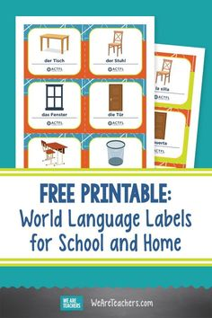 Free Printable World Language Labels for School and Home. There are three languages available: Spanish, French, and German. Plus there is a fill-in-your-own set of world language labels. #printables #worldlanguage #languagelearning #foreignlanguages #classroomideas #teachingresources #teaching #school #education Spanish Teaching Resources, Teaching Tips, Fun Learning, Learning Activities, World Language Classroom, World Languages, Middle School Teachers, Critical Thinking Skills, Foreign Language
