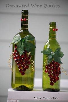 Make Your Own: Decorated Wine Bottles Glass Bottle Crafts, Wine Bottle Art, Glas. - Crafts Make Your Own: Decorated Wine Bottles Glass Bottle Crafts Wine Bottle Art Glas Decorated Liquor Bottles, Liquor Bottle Crafts, Wine Craft, Wine Bottle Art, Glass Bottle Crafts, Wine Cork Crafts, Painted Wine Bottles, Lighted Wine Bottles, Large Bottle Of Wine