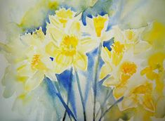 One bunch of daffodils can provide inspiration for many sketches! First, the whole bunch. Birthday Daffodils - © Ruth S Harris 2013 . Daffodil Bulbs, Daffodils, Watercolor Flowers, Watercolor Paintings, Watercolour, Small Paintings, Blue Lotus Flower, Yellow Daisies, English Artists