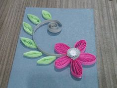 Quilling card pink and grey