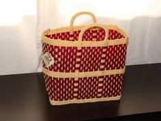 Hand Woven Plastic Basket/Tote Bag by CasadelosGigantes on Etsy, $35.00