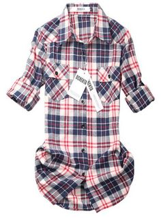 womens-mid-long-style-roll-up-sleeve-plaid-shirt so cute and casual. Cant wait to pair it with boots and jeggings