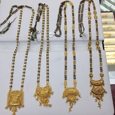 Long mangal sutras call for prices and more designs Gold Mangalsutra Designs, Gold Earrings Designs, Necklace Designs, Jewellery Designs, Long Pearl Necklaces, Beaded Jewelry, Gold Jewelry, High Jewelry, Jewelry Patterns