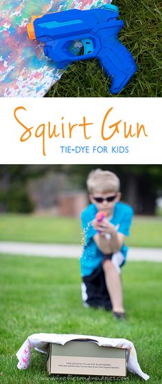Squirt Gun Tie-Dye! Kids of all ages will enjoy using squirt guns to create vibrant, tie dyed shirts! Perfect for home, school, or camp!