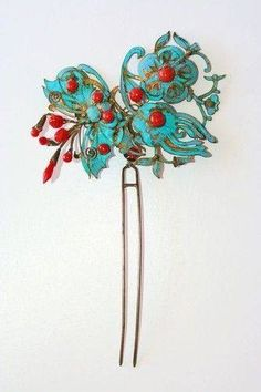 Chinese Gilded Silver Kingfisher Coral Butterfly Floral Hair Pin