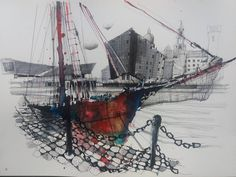 Fennelly Art (@ianfennelly) в Instagram: «Canning Dock #liverpool #boats #paint #painting #sketch #drawing #sketching #sketchbook #travelbook #arch_more #archisketcher #sketchaday #sketchwalker #sketchcollector #artbook #artjournal #traveldiary #topcreator #usk #urbansketchers #urbansketch #скетчбук #скетч #скетчинг #pleinair #aquarelle #watercolorsketch #usk #architecture