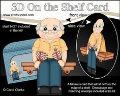 3D On the Shelf Card Kit Old Man Darts Player Colin on Craftsuprint - View Now!
