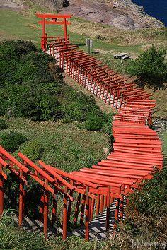 Motonosumi Inari Shrine - Yuya Tsuou, Nagato-city, Yamaguchi prefecture, Japan on the North coast south of Hiroshima Go To Japan, Visit Japan, Yamaguchi, All About Japan, Quelques Photos, Japanese Culture, Photos Du, Japan Travel, Cool Places To Visit