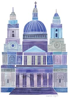 Paul's Cathedral by Marisa Seguin. A little London gem from Sir Christopher Wren. Building Illustration, House Illustration, Landscape Illustration, London Illustration, Graphic Illustration, Architecture Exam, Little Paris, A Level Art, London Art