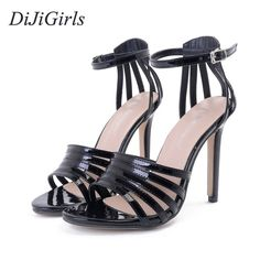 21.07$  Buy now - DiJiGirls New Style Women's Sexy High Heels Buckle Strap Narrow Band Celebrity Ladies Sandals Concise Shoes Woman Black Gray  #buyonline