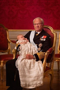 King Carl XVI Gustaf and his granddaughter, Princess Estelle, future Queen of Sweden, on the occasion of her Christening, 2012.