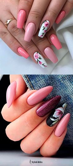 Cute coffin and almond floral nails ideas Coffin Nails Long, Burgundy Nails, Pedicure Nail Art, Chrome Nails, Gorgeous Nails, Pretty Nails, Flower Nail Art, Nail Art Hacks, Beautiful Nail Designs