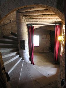 Stairs tower at Glamis Scotland Castles, Scottish Castles, Medieval World, Medieval Castle, George Vi, Historical Architecture, Interior Architecture, Monuments, Inside Castles