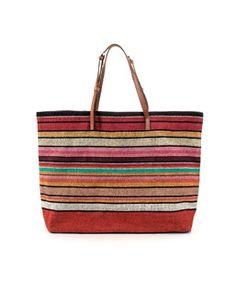 zara. multicolored shopper.