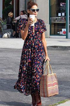 Celebrity Style Steal: Eva Mendes Mixes It Up Eva Mendes Collection, Ray Ban Wayfarer, Eva Longoria, Day Dresses, Floral Maxi Dress, Chiffon Dress, Dress Skirt, Wrap Dress, Cheap Fashion