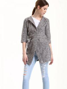 Top Secret Kabát dámský šedý s páskem Dámský kabátek z kolekce TOP SECRET  je vyroben z deb48d1601b