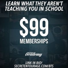Start learning from real millionaire entrepreneurs for just $99 during our Back to School Sale! For less than the price of most textbooks you'll get lifetime access to over 300 videos taught by self-made millionaire entrepreneurs and experts in their respective fields. PLUS you will be a member of our community of entrepreneurs with free access to live events webinars our private forum & facebook group and much more! #motivation #entrepreneur #smallbusiness #secretentourage #teamentourage…