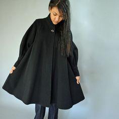 vintage 80s wool SWING COAT / Black Wool Trapeze coat / Juliet Sleeves & Wide Cuffs M / L