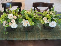 Vine and moss baskets were the perfect containers and take home gift for guests at this anniversary luncheon in a Texas vineyard...