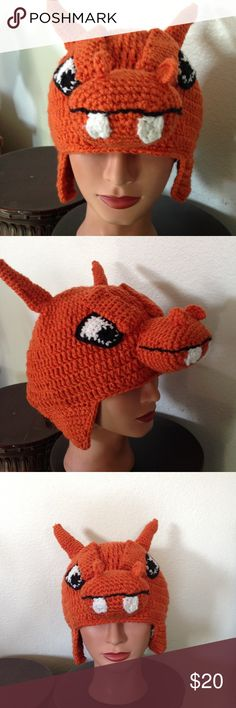 Pokemon Charizard crochet hat Pokemon Charizard crochet hat handmade to order Handmade Accessories Hats