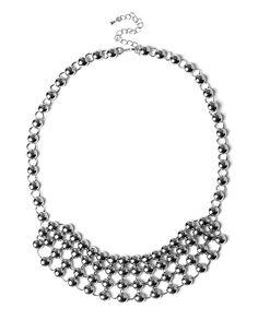 $16.45 Stud Bib Necklace, Rhodium