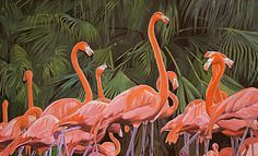 Flamingo Painting - Flamingos by Jeanne Russell