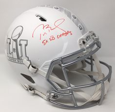 TOM BRADY Signed (Red) 5x SB Champs Authentic Speed Ice Helmet STEINER LE 12/12