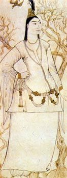 """Gomlek, under tunic. There isn't art that shows the whole thing by itself on a woman for reasons of modesty. Mid-calf to ankle length, wide """"skirt"""" and sleeves."""