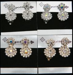 Sparkly diamante clip on earrings rhinestone flower drop jewellery 051