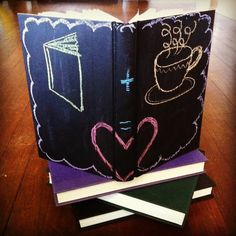 Chalkboard paint + books = so fun!