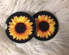 Add a pop of sun shine to your vehicle with the awesome absorbing sandstone car cup holder coasters. Sunflower Accessories, Cute Car Accessories, Man Cave Garage, Cave Bar, Floating Candles, Cute Cars, Drink Coasters, Decoration, Coaster Set