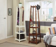 Park a coat rack with shelves by your entry for enforcing a tidy policy.