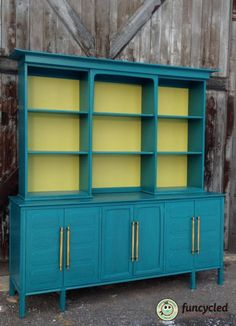 Teal and Chartreuse Hutch mid century painted