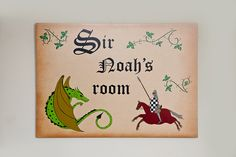 Personalised Boys Bedroom Knight and Dragon Wall Plaque by WEatonMedievalArts on Etsy Childrens Wall Art, Art Wall Kids, Name Plaques, Kid Names, Craft Items, Mcdonalds, Bedroom Wall, Knights, Boys