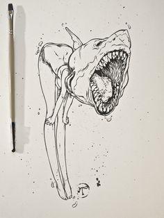 you can be anything you want to / shark girl drawing / art / illustration Art Et Illustration, Illustrations, Drawing Sketches, Art Drawings, Crazy Drawings, Art Du Croquis, Arte Sketchbook, Tatoo Art, Pen Art