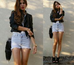 shorts leather and heels